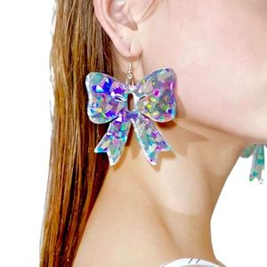 ✨ new NWT EARRINGS holographic bows big  LG